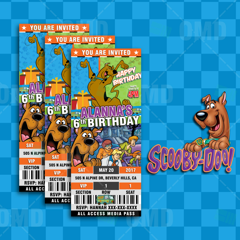 Scoobydoo Ticket Style Birthday Invites Cartoon Invites – Ticket Style Birthday Invitations
