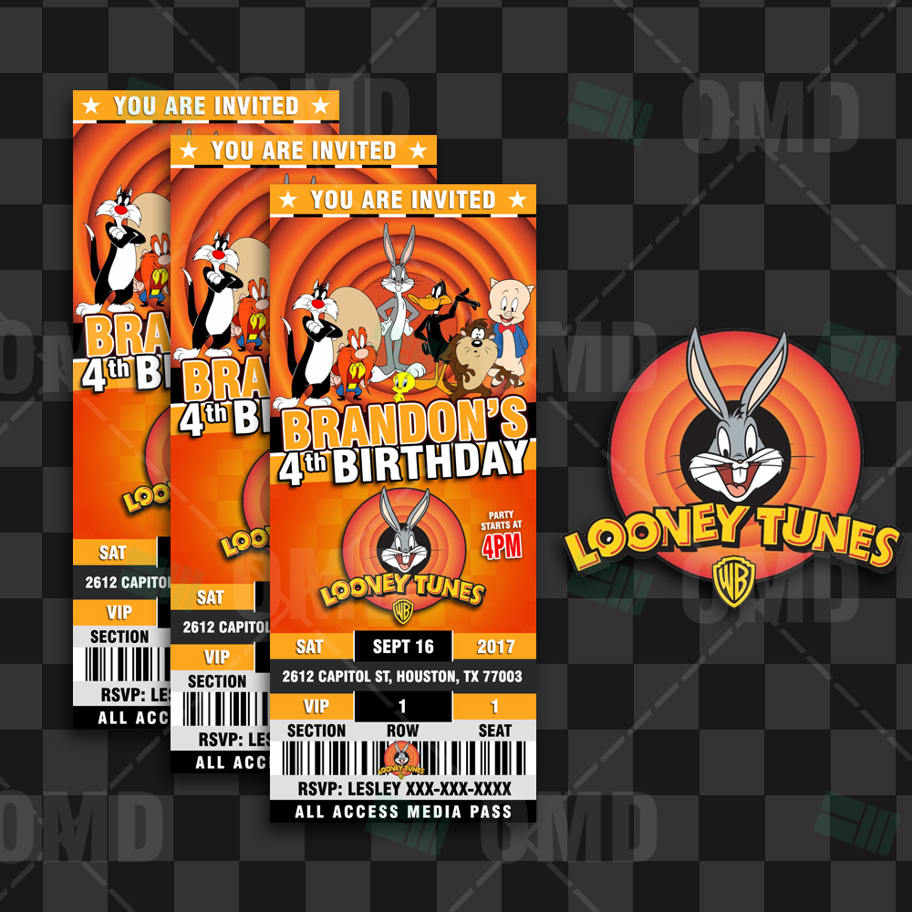 Looney Tunes Ticket Style Birthday Cartoon Invites Cartoon Invites – Ticket Style Birthday Invitations
