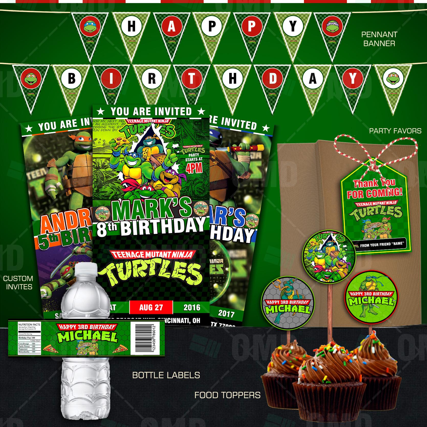 Teenage Mutant Ninja Turtles Ultimate Party Package Cartoon Invites – Ninja Turtle Party Invitation