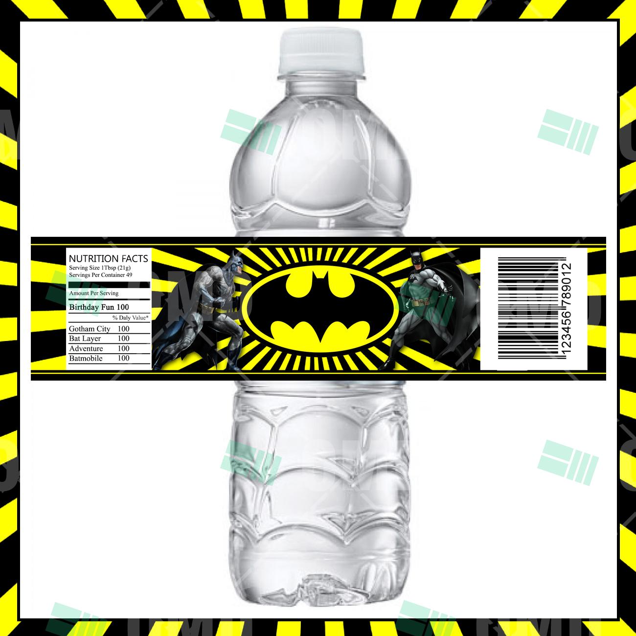 Batman Party Bottle Labels – Cartoon Invites