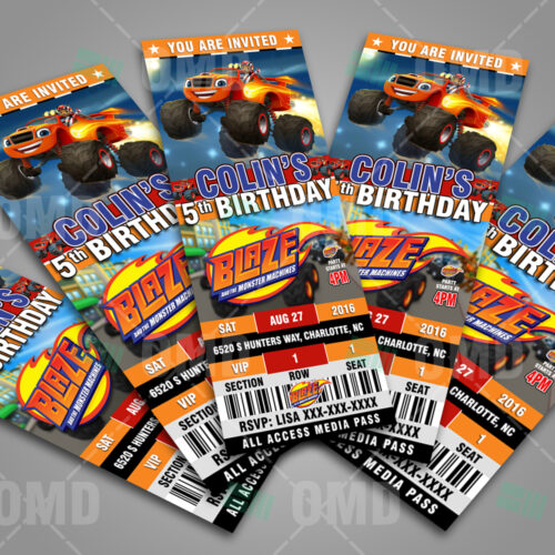 Blaze And The Monster Machines Ticket Style Cartoon