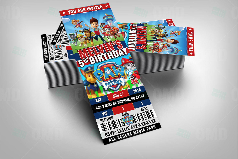 Paw Patrol Ticket Style Cartoon Invites – Cartoon Invites