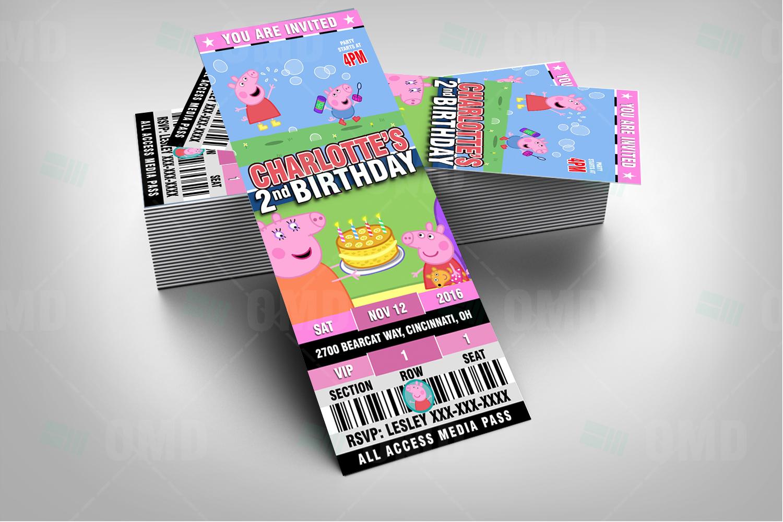 Peppa Pig Ticket Style Cartoon Invites – Cartoon Invites