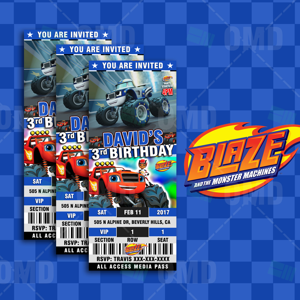 blaze and the monster machines cartoon ticket style invites