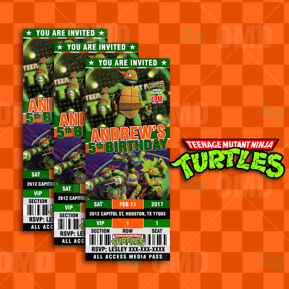 Teenage Mutant Ninja Turtles Cartoon Invites Ticket Style Cartoon