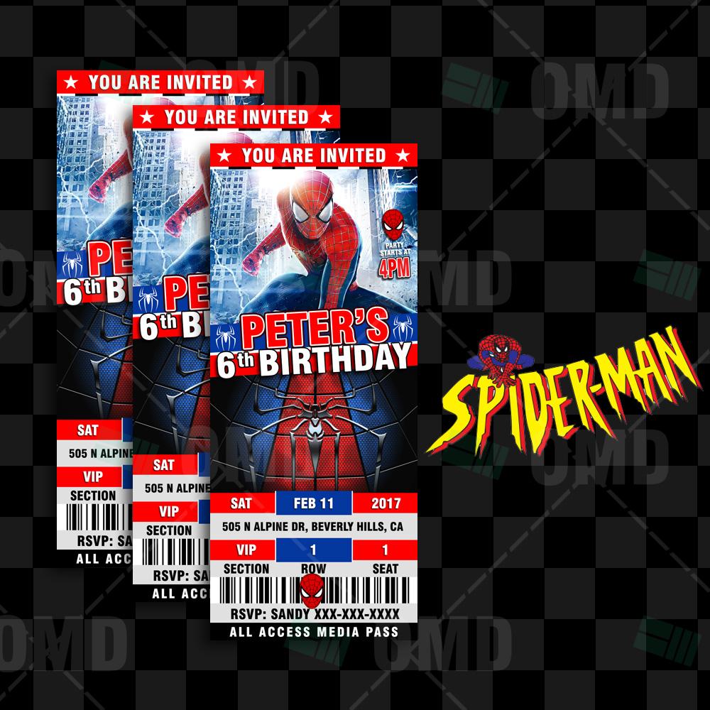 spiderman ticket style birthday invites  u2013 cartoon invites