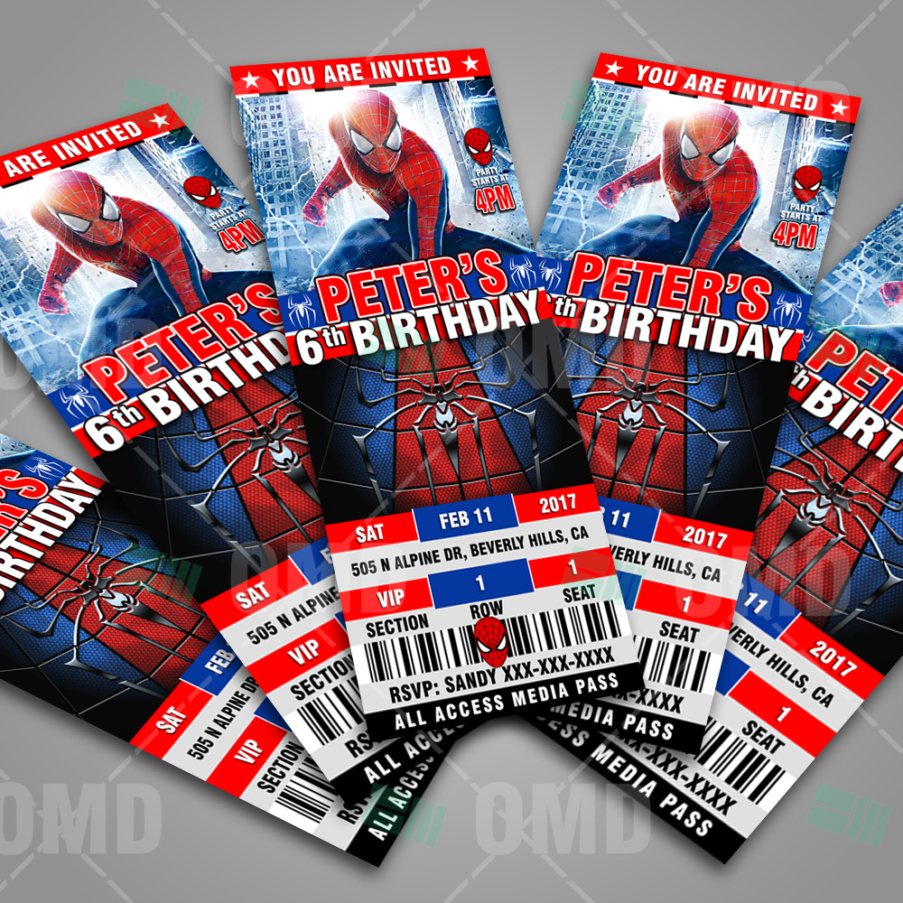 Spiderman Ticket Style Birthday Invites Cartoon Invites