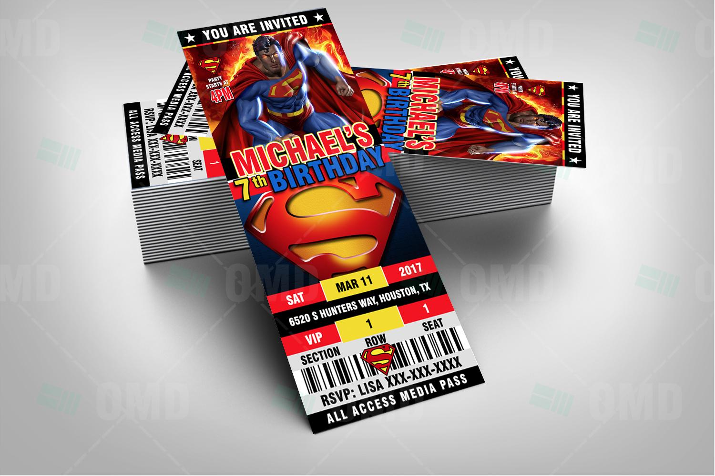 Superman Ticket Style Birthday Cartoon Invites – Cartoon Invites