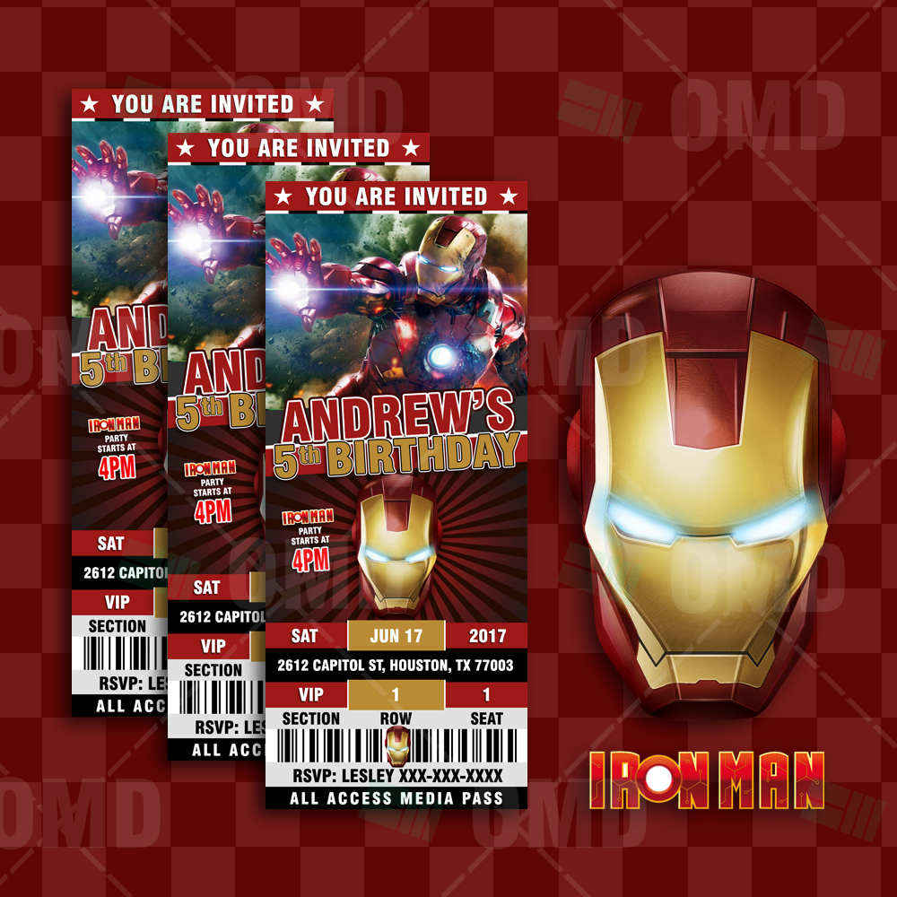 Iron Man Ticket Style Birthday Cartoon Invites Cartoon Invites