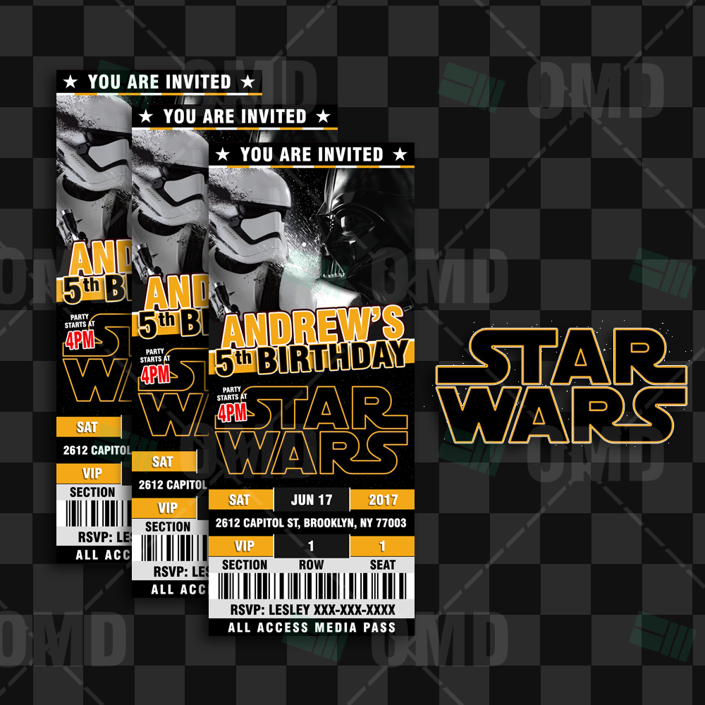 Star Wars Ticket Style Birthday Cartoon Invites Cartoon Invites