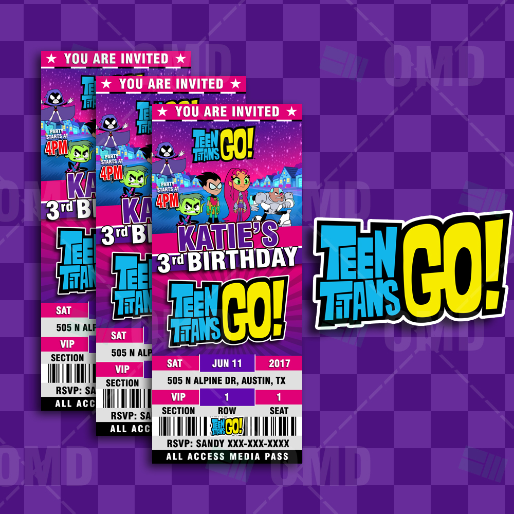 Teen Titans Go Ticket Style Birthday Cartoon Invites -5770