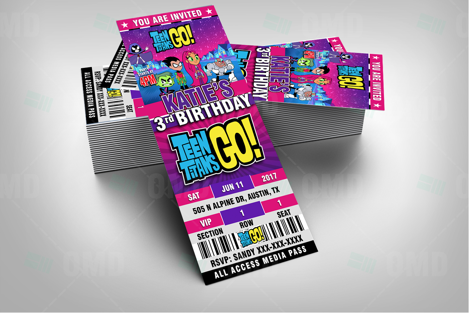 Teen Titans Go Ticket Style Birthday Cartoon Invites -9049