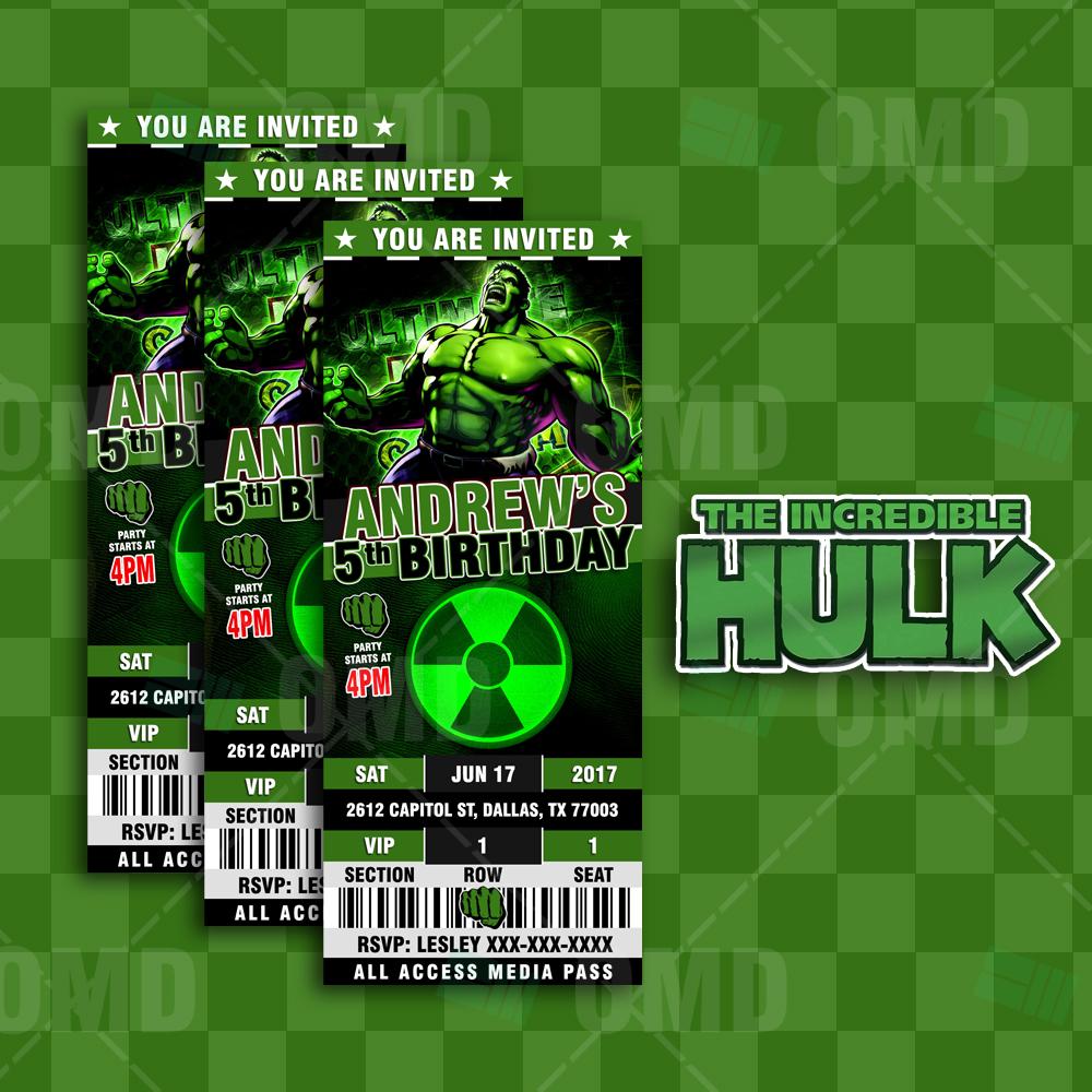 The Incredible Hulk Ticket Style Birthday Cartoon Invites Cartoon