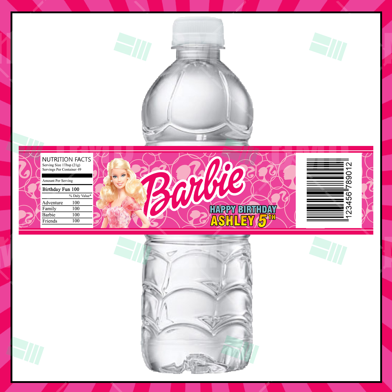 Barbie Cartoon Party Bottle Labels – Cartoon Invites