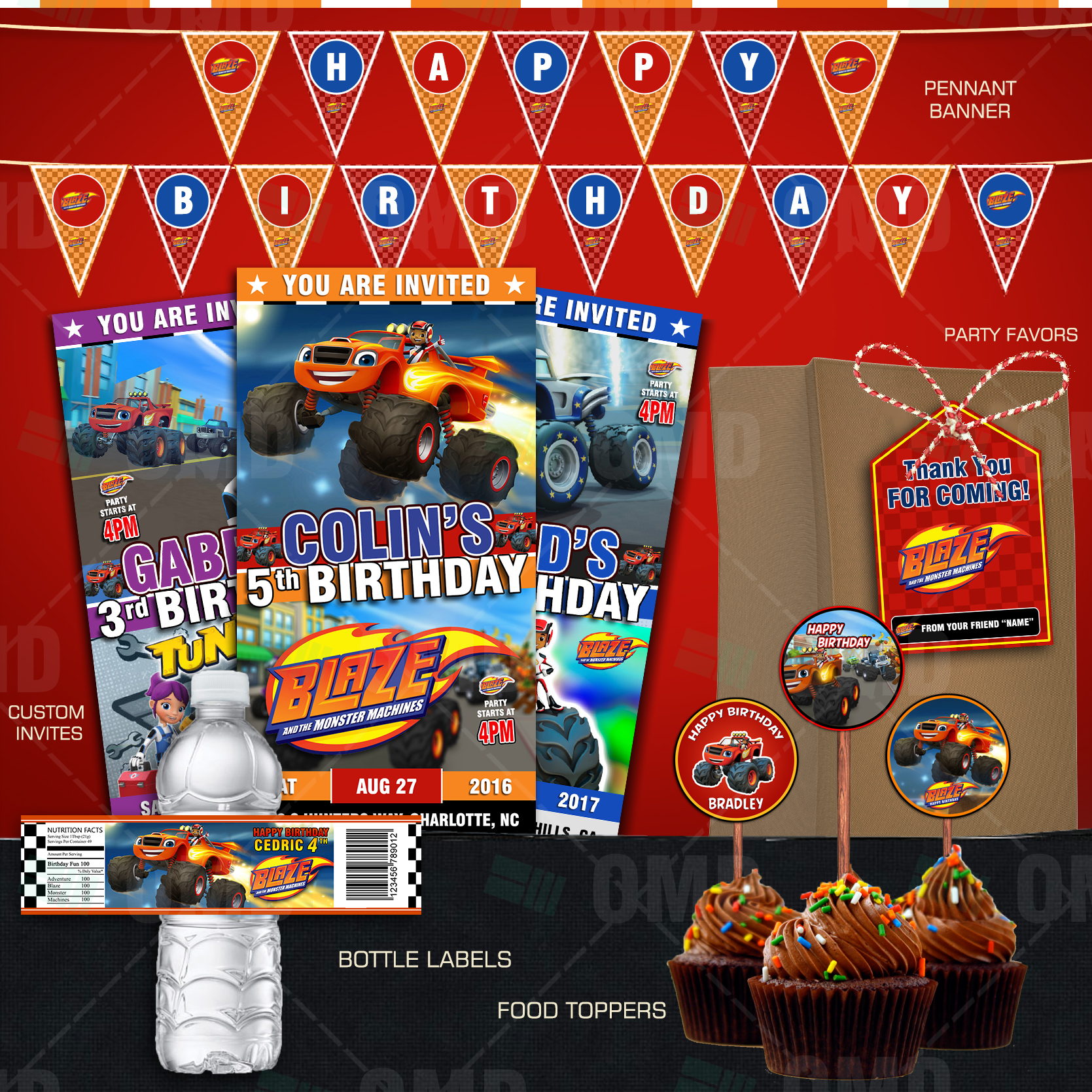 Blaze And The Monster Machines Ultimate Party Package – Cartoon Invites