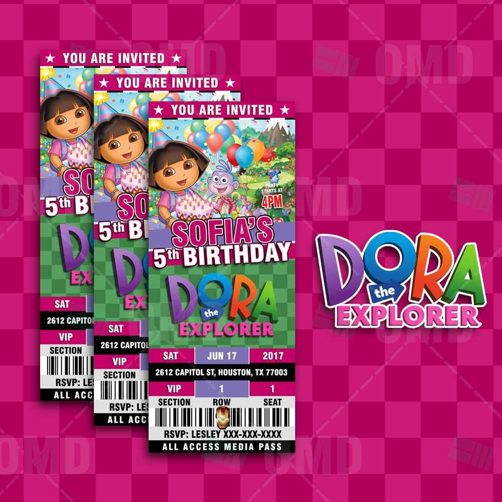 Dora the Explorer Ticket Style Birthday Cartoon Invites – Cartoon ...