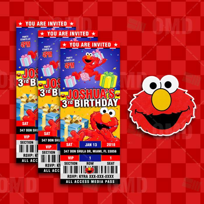 elmo sesame street ticket style birthday cartoon invites cartoon
