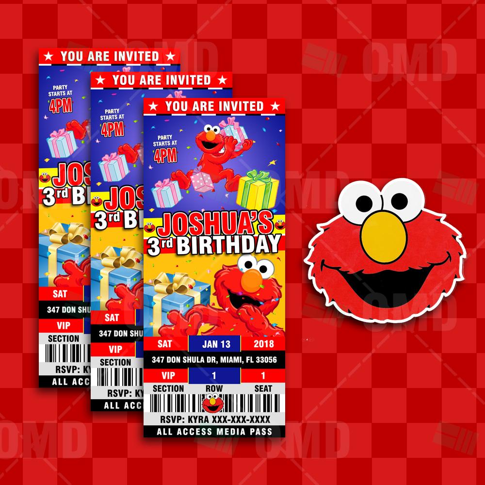 Elmo Sesame Street Ticket Style Birthday Cartoon Invites – Cartoon ...