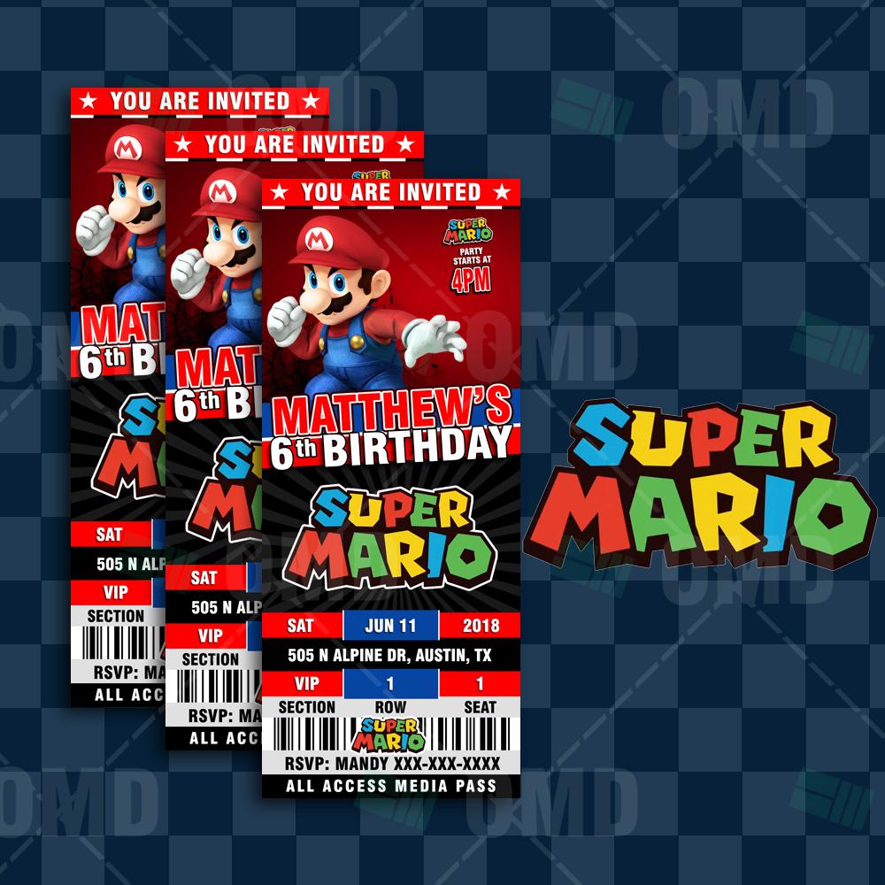 Super Mario Bros Ticket Style Birthday Cartoon Invites Cartoon Invites