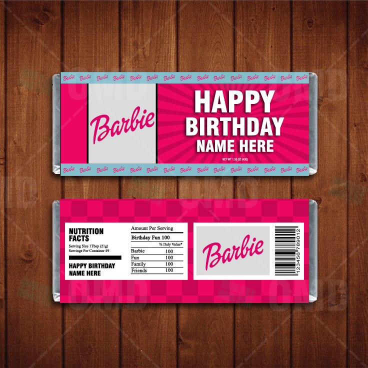 Barbie Custom Candy Bar Wrappers Cartoon Invites