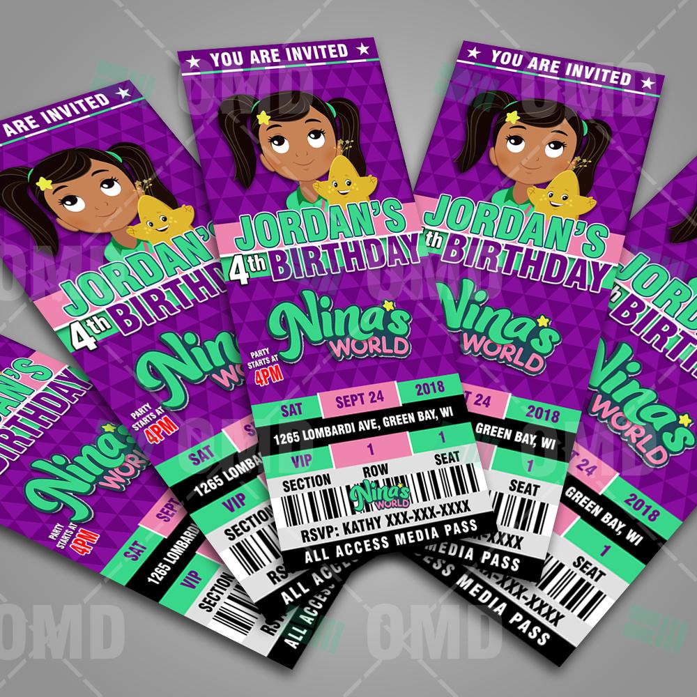 Nina's World Ticket Style Birthday Cartoon Invites ...
