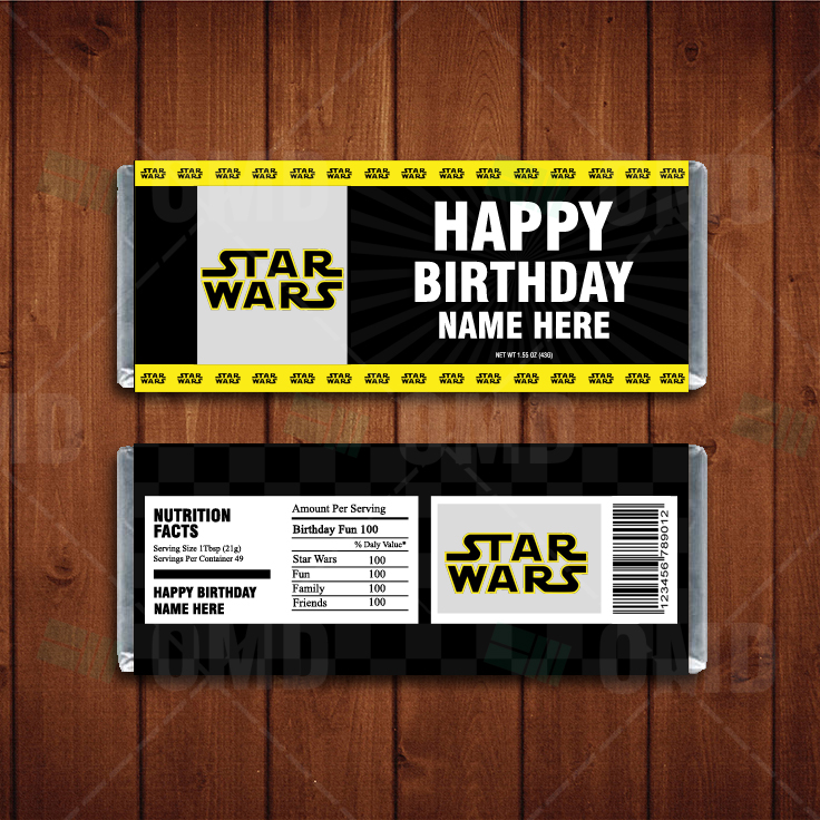 Star Wars Custom Candy Bar Wrappers Cartoon Invites