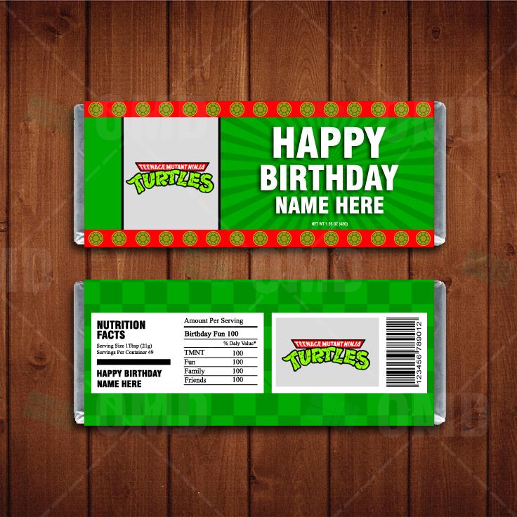 Teenage Mutant Ninja Turtles Custom Candy Bar Wrappers