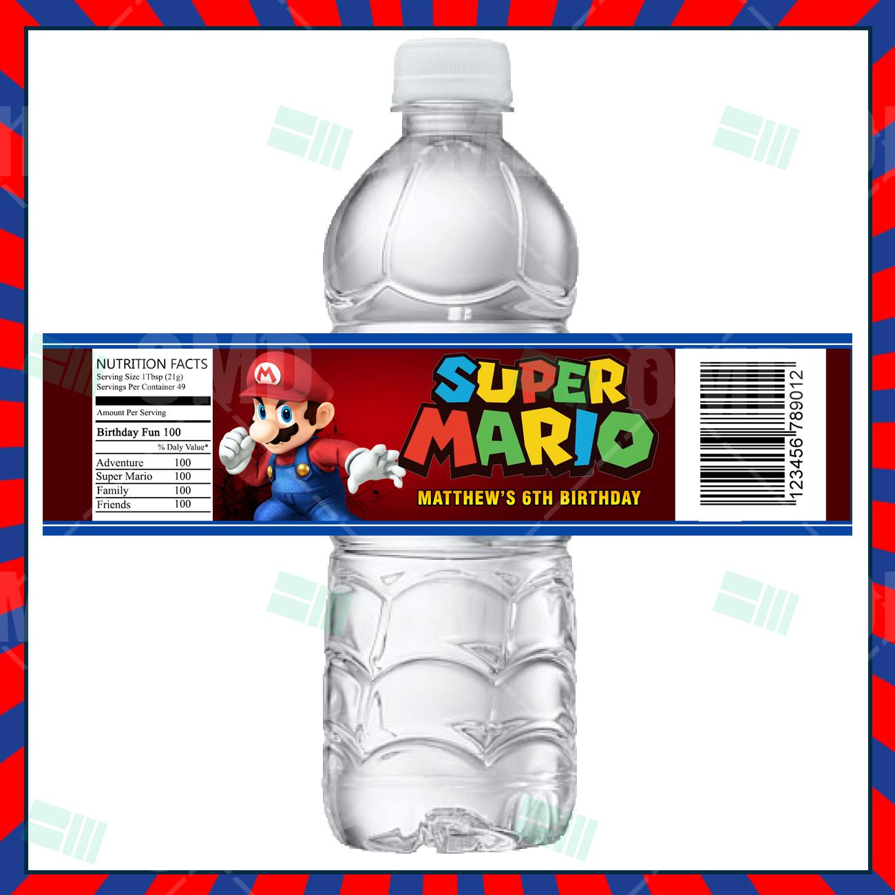 Super Mario Bros Cartoon Party Bottle Labels – Cartoon Invites