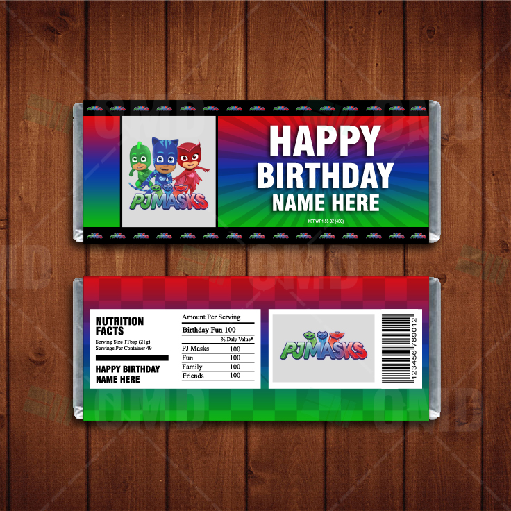 PJ Masks Custom Candy Bar Wrappers Cartoon Invites