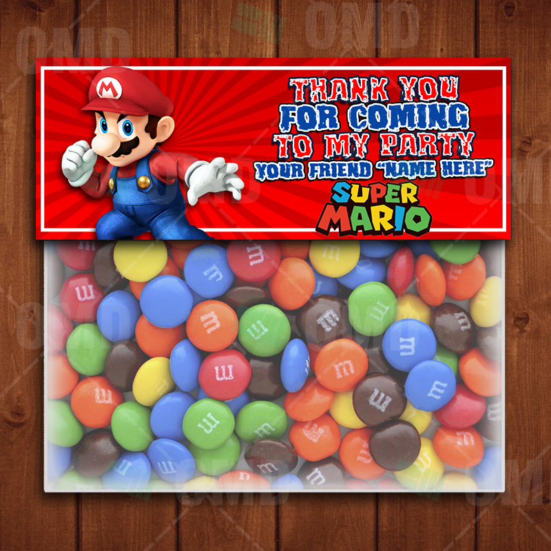 Party Bag Favor tags Super Mario Thank you tags Personalised