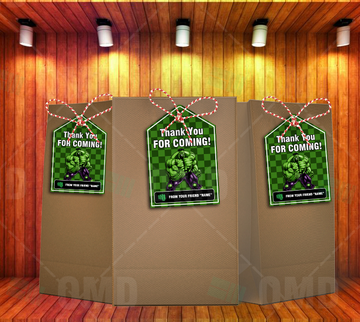 The Incredible Hulk Party Favors Bag Tags Cartoon Invites