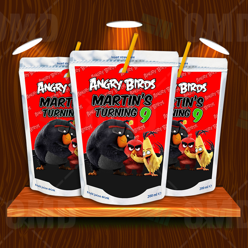 Angry Birds Birthday Party Capri Sun Labels Cartoon Invites