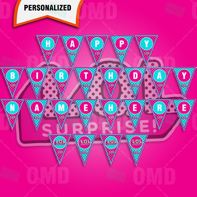 Lol Surprise Dolls Birthday Party Banner Cartoon Invites