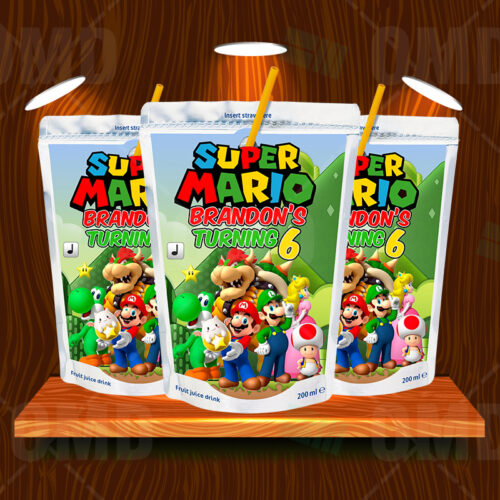 Super Mario Bros Birthday Party Capri Sun Labels