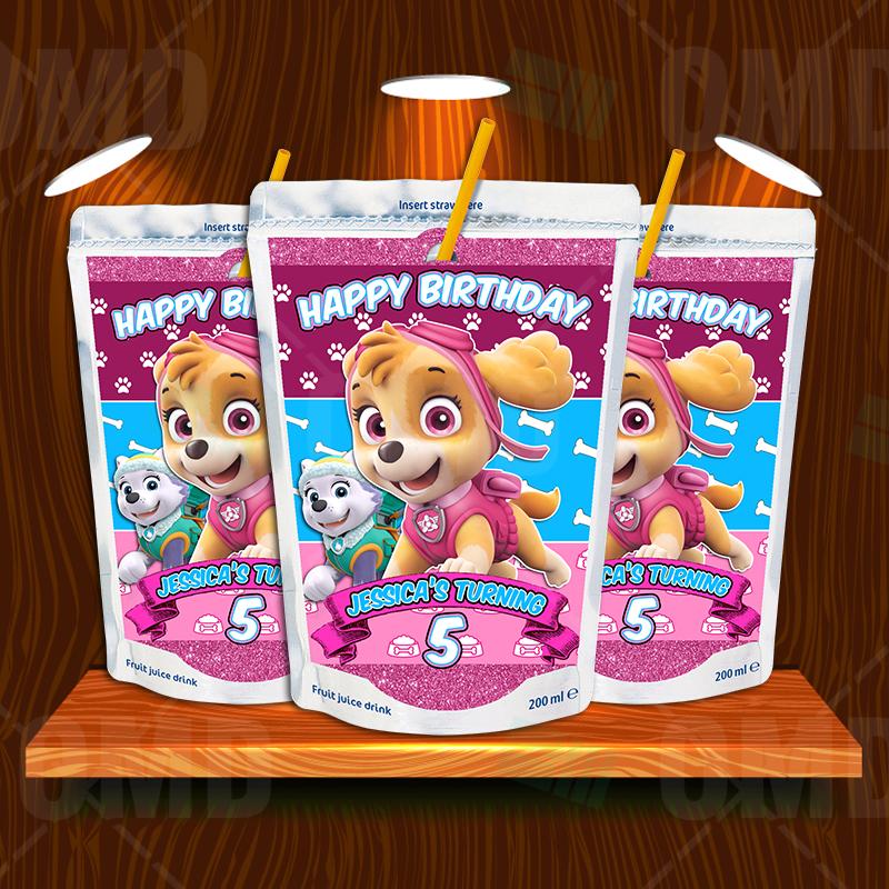 Paw Patrol Skye Birthday Party Capri Sun Labels Cartoon Invites