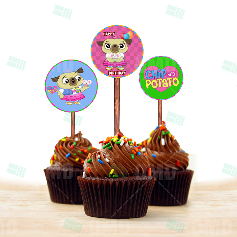 Magnificent Chip And Potato Cupcake Toppers Cartoon Invites Personalised Birthday Cards Veneteletsinfo